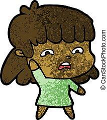 cartoon worried woman