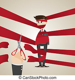 cartoon wrapping businessman get help - illustration of...
