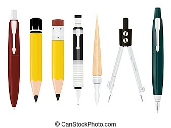 Cartoon writing tools collection.