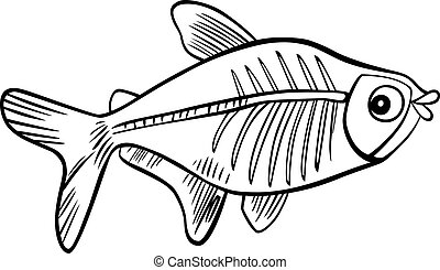 cartoon x-ray fish for coloring book - cartoon illustration...