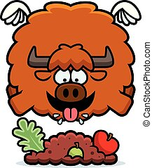 Cartoon Yak Eating - A cartoon illustration of a yak eating.