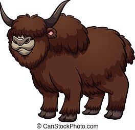 Cartoon yak - Furry, brown, wooly cartoon male yak standing ...