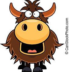 Cartoon Yak Happy - Cartoon illustration of a yak with a ...
