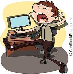 cartoon yawning man.