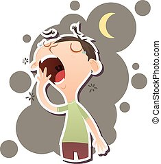 Cartoon yawning man