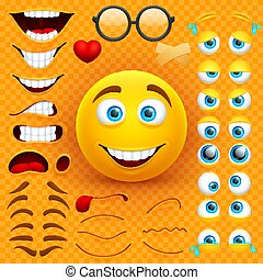 Cartoon yellow 3d smiley face vector character creation constructor. Emoji with emotions, eyes and mouthes set