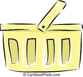 Cartoon yellow basket vector illustration on white background