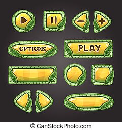 Cartoon yellow buttons with leaves