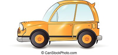 cartoon yellow car