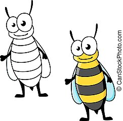 Cartoon yellow jacket wasp insect character