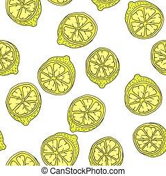 Cartoon yellow lemon fruit with contour, seamless pattern