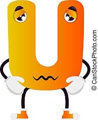 Cartoon yellow letter U vector illustration on white background