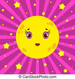 Cartoon yellow moon smiling on a pink striped background with stars