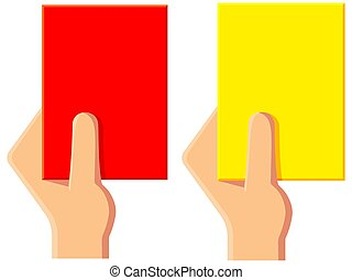 Cartoon yellow red soccer referee card icon set