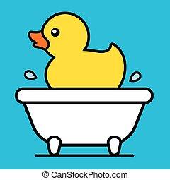 Cartoon yellow rubber duck in a bathtub