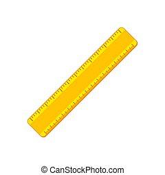 Cartoon yellow ruler flat icon