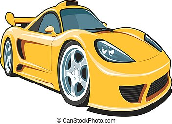 Cartoon yellow sport car - Vector isolated cartoon yellow...