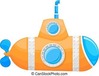 Cartoon yellow submarine with periscope and a porthole on a white background. Vector illustration