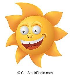 Cartoon yellow sun face vector illustration.