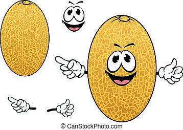 Cartoon yellow sweet melon fruit - Sweet aroma cantaloupe...
