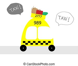 Cartoon yellow taxi car on a white background. Vector illustration.