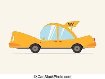 Cartoon Yellow Taxi Illustration