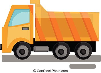 Cartoon yellow transporting truck vector illustration on white background.