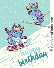 Cartoon Yetis skiing and lettering happy birthday. Vector illustration