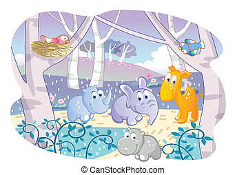cartoon young animals playing