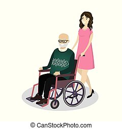 Cartoon young beautiful woman rolls a smiling grandfather in a wheelchair