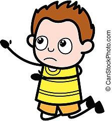 Cartoon Young Boy Begging