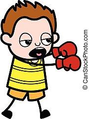 Cartoon Young Boy Boxing