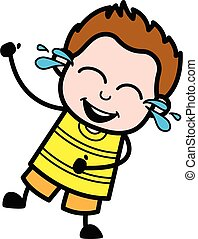 Cartoon Young Boy Laughing