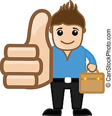 Cartoon Young Boy Showing Thumbs Up