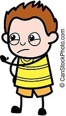 Cartoon Young Boy Threatening