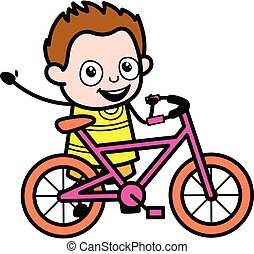 Cartoon Young Boy with Bicycle