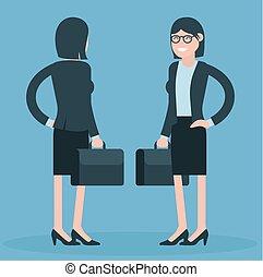 Cartoon young business women