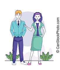 cartoon young businessman and woman standing
