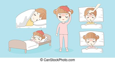 Cartoon young children have a fever, great for your design