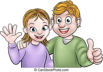 Cartoon Young Couple