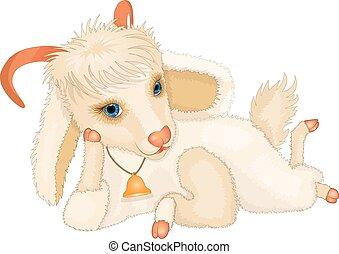 Cartoon young cute goat