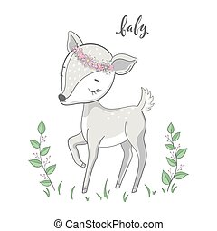 Cartoon young deer with branches on white background. Cute bambi animal vector.