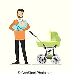 Cartoon young father with newborn baby and pram