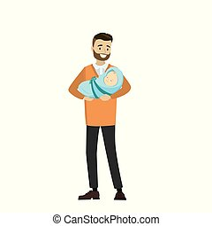 Cartoon young father with newborn baby