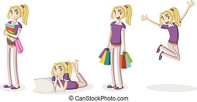 Cartoon young girl.