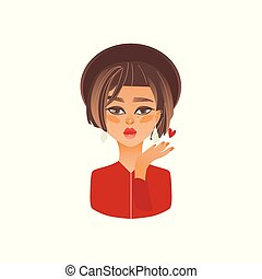Cartoon young girl in hat sends air kiss vector
