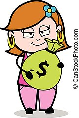 Cartoon Young Lady Showing Cash Vector Illustration