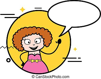 Cartoon Young Lady with Chat Bubble
