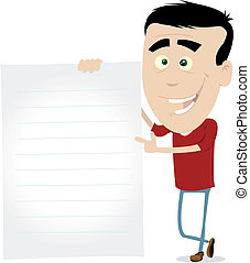 Illustration of a young man holding a paper for your message