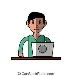 cartoon young man using laptop on desk